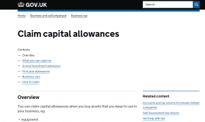 HMRC capital allowances